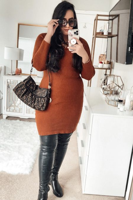 Styling a Sweater dress with thigh high leather boots and a vintage fendi bag http://liketk.it/39VlG #liketkit @liketoknow.it #LTKcurves #LTKstyletip