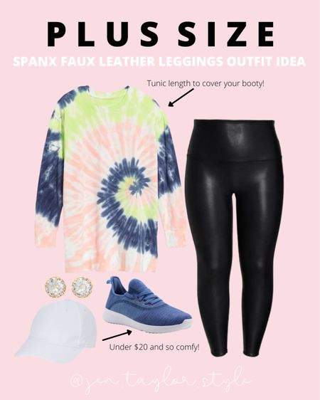 Planning to get Spanx leggings during the Nordstrom sale? Here's. an easy plus size Spanx faux leather leggings outfit! This plus size tunic length sweatshirt is perfect to cover your booty.   #LTKunder100 #LTKsalealert #LTKcurves
