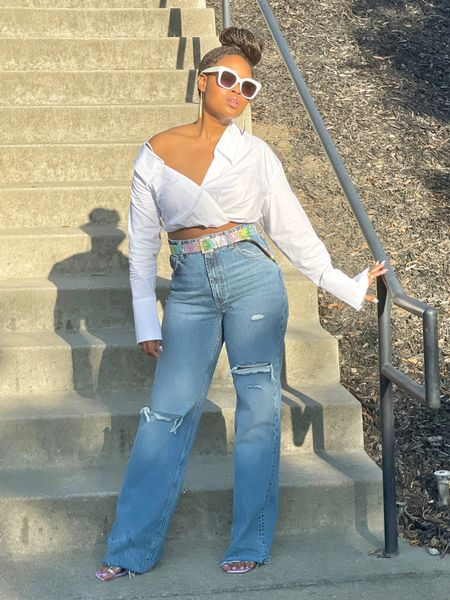 Style Tip: Try a great pair of high-waisted denim to elongate your legs.  Add a stylish crop blouse to leave you feeling/ looking both lean and tall.   #ootd Blouse + denim are from Zara. Both recently purchased, Aug 2021  Shoes are ASOS  Belt Forever 21  #LTKstyletip