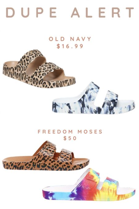 """Such a great lookalike at Old Navy for the super popular designer """"Freedom Moses"""" two strap slides! Way more affordable for a casual summer sandal too! Love the leopard and tie dye patterns! They also come in solid colors as well! http://liketk.it/3bbnF #liketkit @liketoknow.it #LTKsalealert #LTKshoecrush #LTKfamily"""