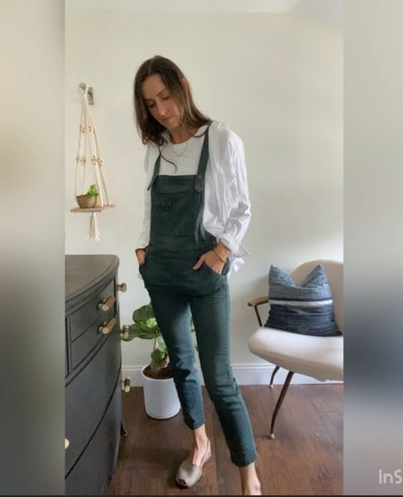 Check out the full reel on IG - how to style overalls  Just found this gauzy button up back in stock!   #LTKunder100 #LTKunder50 #LTKstyletip