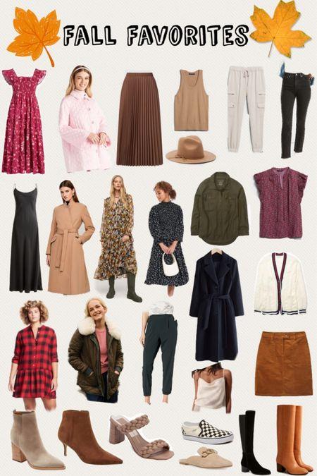 Fall favorites, fall style, fall Staples, camel coat, khaki shacket, knee high boots, booties, cord skirt, fall dresses, floral dress, satin silk dress, burgundy pleated skirt, hill house nap dress, joggers, trench coat, puffer jacket, plaid dress, vans slip one, veja sneakers #ltkfall  #LTKsalealert #LTKHoliday #LTKSeasonal