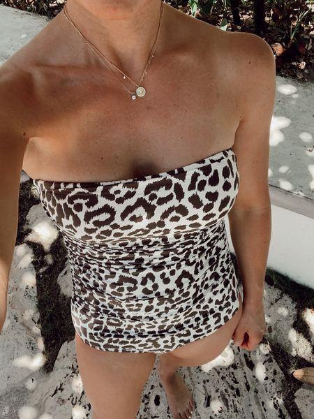 Favorite one piece swimsuit jcrew swim leopard swimsuit bandeau swimsuit  Follow my shop on the @shop.LTK app to shop this post and get my exclusive app-only content!    #LTKswim #LTKunder50 #LTKstyletip