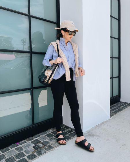Weekend OOTD. Pregnancy style. How to style Birkenstock's.   Shirt - Everlane 00 Leggings - Ingrid & Isabel 1 Sandals - Birkenstock's 4-4.5 Bag - Gigi New York Hat - Polo Ralph Lauren  Sweater - Filoro Cashmere small  http://liketk.it/3gXva #liketkit @liketoknow.it #LTKbump