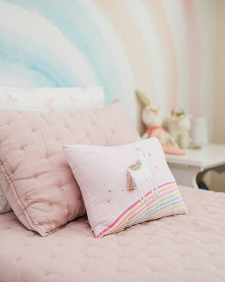 Pink girls bedroom with unicorn and rainbow decor, featuring Pottery Barn Kids bedding  #liketkit @liketoknow.it http://liketk.it/2F4Ax
