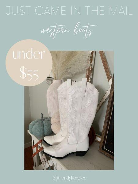 white cowboy boots / white western boots / boots under $100 / fall boots / white boots   #LTKshoecrush #LTKunder100 #LTKsalealert