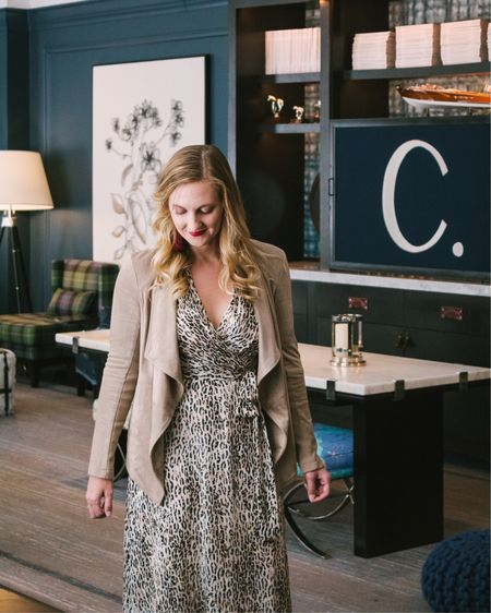 A leopard print midi dress paired with the BB Dakota wade faux suede jacket make for an easy fall outfit! @liketoknow.it #liketkit http://liketk.it/2FgUb #LTKstyletip #LTKunder100 #LTKworkwear
