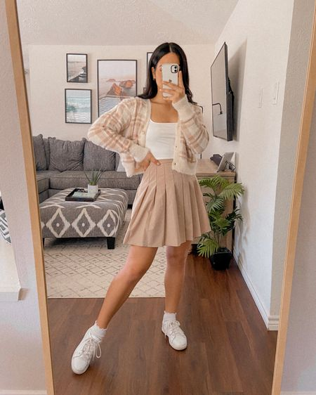 Get 15% off SHEIN with code Q3YGJESS  fuzzy plaid cardigan, white crop top, tennis skirt, pleated skirt, tennis shoes, sneakers, socks, amazon fashion finds, fall outfits, fall style, fall outfit inspo, fall outfit ideas, preppy style, trendy style   #LTKstyletip #LTKsalealert #LTKshoecrush