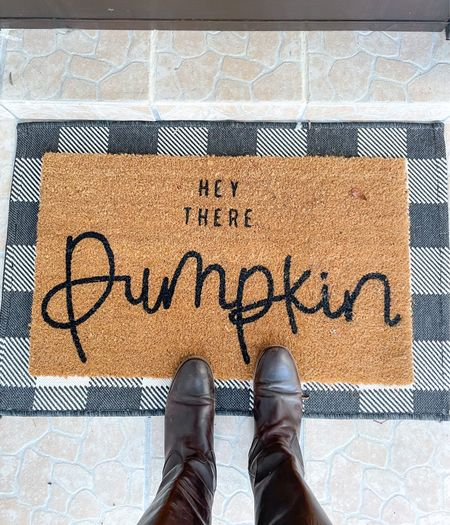 Yay for fall home decor! Love this happy fall doormat for our front porch, and the rug beneath just adds the cutest touch.     front porch decor  #LTKhome