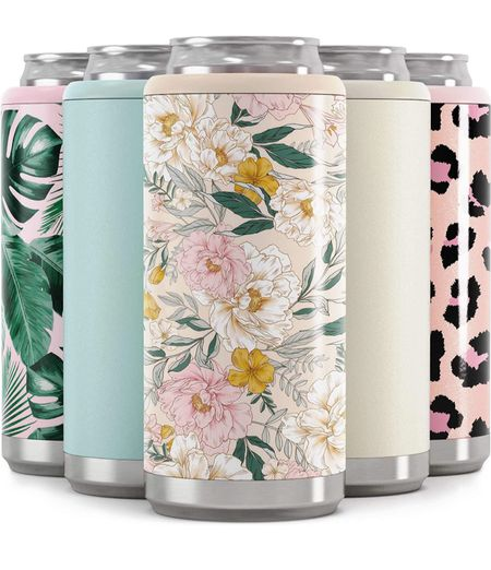 $12 floral tropical cheetah color slim coozie can from Amazon perfect for the beach or keeping your drink cool at parties