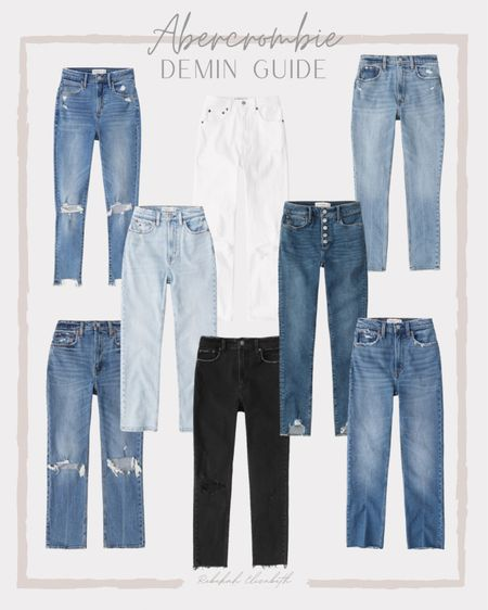 Abercrombie denim guide   curve love high rise skinny ankle • white ultra high rise denim • black high rise skinny jeans • ripped button front high rise #rebekahelizstyle   #LTKcurves #LTKstyletip #LTKunder100