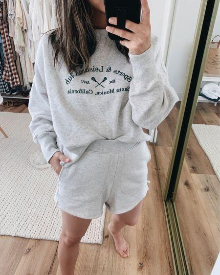 Graphic sweatshirt. Sporty sweatshirt. Lounge wear.   Sweatshirt - A&F small Shorts - Madewell xxs  http://liketk.it/3hRBo #liketkit @liketoknow.it #LTKunder100