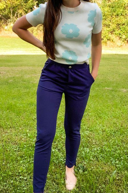 Y2K workwear! Cozy floral sweater and work pants and flats!   #LTKunder50 #LTKstyletip #LTKworkwear