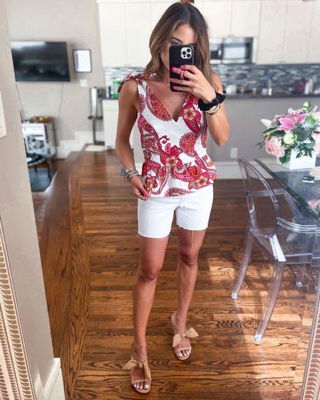 Paisley peplum top in xs white longer cutoff shorts in 00 nude bow heels http://liketk.it/3hZKS  #liketkit @liketoknow.it #LTKunder50 #LTKsalealert #LTKunder100