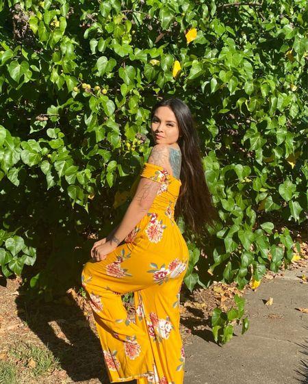 yellow floral off the shoulder jumpsuit   #LTKsalealert #LTKbeauty #LTKwedding
