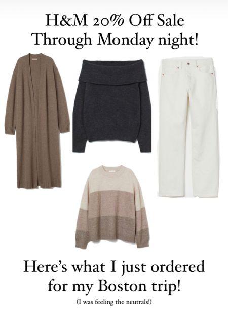 What I just ordered from new arrivals at H&M! Neutrals for fall! Long cardigan, striped sweater, black off shoulder sweater, white straight leg jeans.    #LTKSeasonal #LTKsalealert #LTKunder50