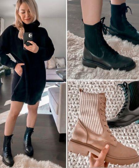 Black Combat Boots, Black Dress, Fall Outfit  #LTKshoecrush #LTKSeasonal