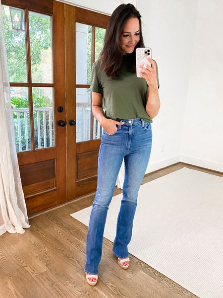 """Such a perfect everyday t-shirt for $8 ✔️👌 wearing an xs and love the cuffed sleeves // jeans run TTS and I'm wearing a 27 and am 5'8""""   #LTKunder50 #LTKunder100"""