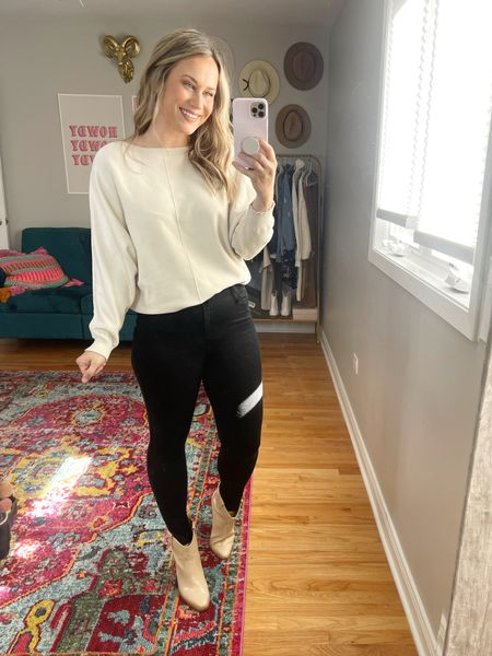Casual Fall Outfits: western boots are my favorite fall trend, paired these booties with skinny jeans and a casual, neutral sweater an amazon find.   #LTKshoecrush #LTKunder100 #LTKsalealert