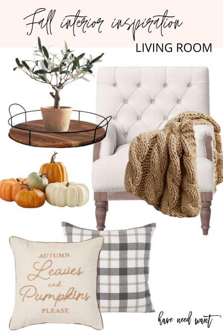 Create a cozy corner in your living room this fall. Add some farmhouse decor and add some pillows and a warm knit blanket.  #LTKhome #LTKunder50 #LTKSeasonal