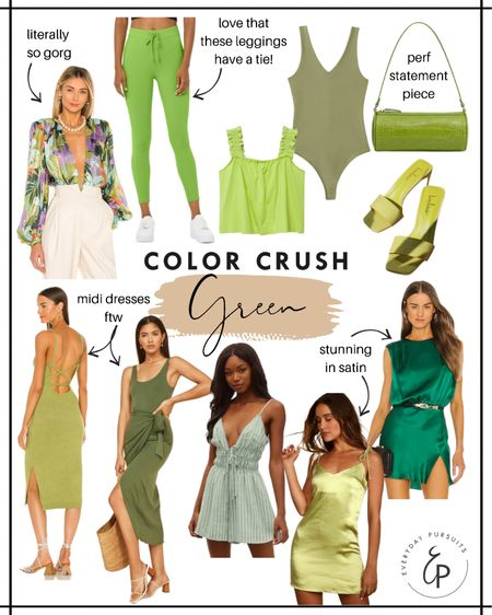 Color crush of the summer is green! These fashion pieces are to die for and will definitely help you stand out. http://liketk.it/3hT1B #liketkit @liketoknow.it #LTKfit #LTKstyletip