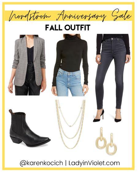 Nordstrom Anniversary sale / nsale fall outfit / plaid blazer / black turtleneck top / black booties / gold layered necklaces / small gold earrings / wear-to-work    #LTKsalealert #LTKunder100 #LTKworkwear