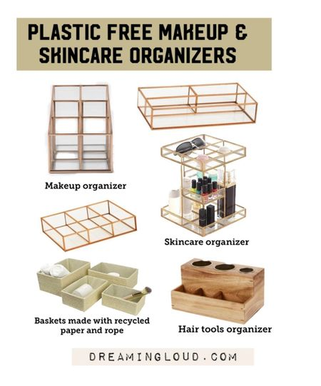 plastic free makeup organizer, glass and metal makeup organizer, turntable skincare organizer, eco friendly baskets for organizing, recycled paper baskets, glass makeup organizer, bathroom organization   #LTKbeauty #LTKunder50 #LTKhome