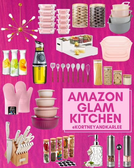 Amazon Glam Kitchen Finds!  Amazon kitchen finds | glass food storage containers | glass tumblers | amazon kitchen gadgets | kitchen canisters | cooking utensils set | Amazon Kitchen organization | kitchen finds from amazon | amazon glam kitchen | pink kitchen finds | glam kitchen finds | glam kitchen favorites | Kortney and Karlee | #Kortneyandkarlee #LTKunder50 #LTKunder100 #LTKsalealert #LTKstyletip #LTKSeasonal #LTKhome @liketoknow.it #liketkit