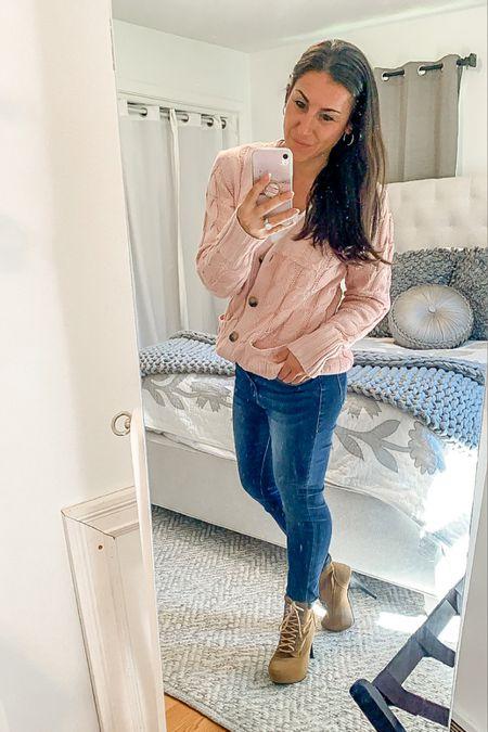 Fall fashion open front cardigan, Nordstrom sale jeans, heeled boots http://liketk.it/2Vx3l #liketkit @liketoknow.it #LTKshoecrush #LTKsalealert #LTKstyletip