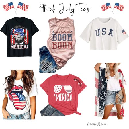 Amazon 4th of July Tee shirts! Get them in time for July 4th. #affordable tees #4thofjuly #womenstshirts http://liketk.it/3iBDa #liketkit @liketoknow.it