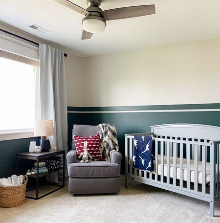 Modern nursery decor with green walls and gray recliner.   #LTKhome #LTKbump #LTKbaby