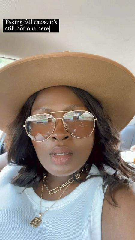 Early fall outfit ! Wide brim fedora lack of color , initial necklace, tinted aviator , Brown girl nude lip cream @NYX  #LTKbeauty #LTKcurves #LTKSeasonal