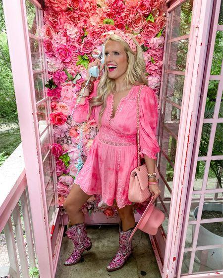 LoveShackFancy fancy dress - linked similar size 8!  Can't link cowboy boots  Amazon pink headband  Pink fedora  Pink quilted purse  Pink bracelet stack -20% off until this Friday!   Summer dress, date night dress, vacation dress  Pink dress, http://liketk.it/3jJO2 #liketkit @liketoknow.it #LTKsalealert #LTKtravel #LTKstyletip