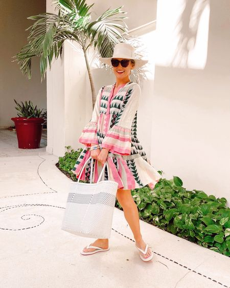 The ultimate summer dress 🙌🏻 Have loved this style for two years now and finally pulled the trigger on this color way! Wearing my usual size XS. Hat is the wide brim Ibiza from Artesano and the tote was from our resort! 🌴💕