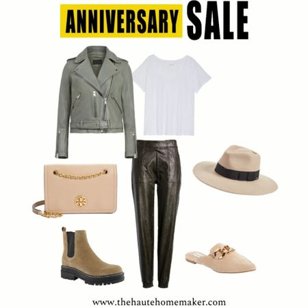 The Best of the #nsale  Fall outfit inspiration w/ the spanx faux leather joggers, moto jacket, white tee, sneakers or mules + a hat + bag  #LTKsalealert #LTKstyletip #LTKunder100