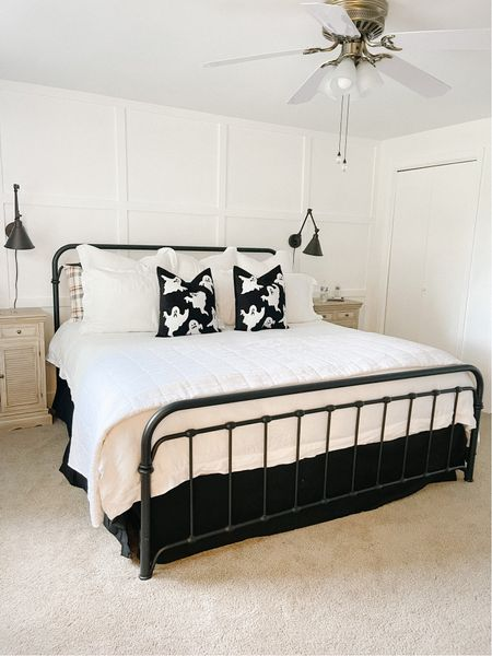 Halloween bedding 🎃 Black and white modern farmhouse bedroom with iron bed   #LTKSeasonal #LTKHoliday #LTKhome