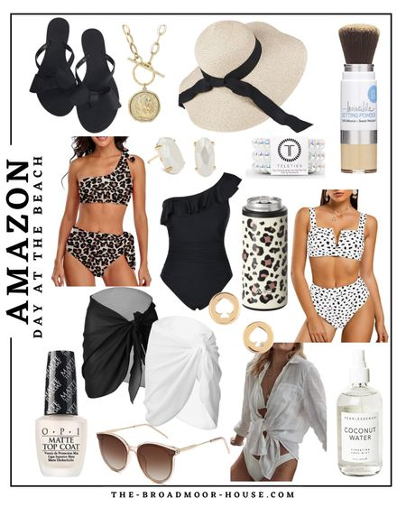 Amazon fashion, Amazon beach, beach outfit, swimsuit, beach hat, sun hat, woven hat, beach sandals, queen necklace, Kate Spade earrings, swimsuit cover-up, vacation outfit, sunscreen powder, hair accessories, Kendra Scott earrings, jewlery, necklace, two piece, one piece, leopard swim  #LTKstyletip #LTKswim #LTKhome