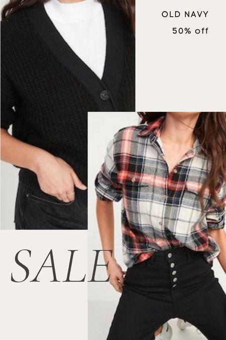 Old navy sale 50% off today only- black cardigan, grey cardigan, plaid button down, boyfriend shirt, flannel  #LTKunder100 #LTKunder50 #LTKsalealert