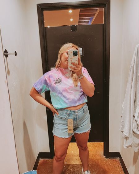 Tie dye t-shirt Size up for oversized fit Golden goose sneakers Mom shorts  http://liketk.it/3jLK5 #liketkit @liketoknow.it #LTKstyletip #LTKunder50 #LTKcurves