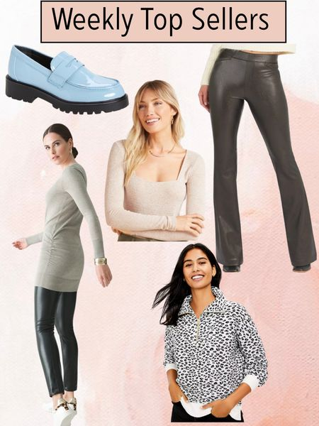 Sharing the weekly top sellers on the blog for the week. So many great pieces perfect for your fall wardrobe.  Spanx faux leather flares, blue patent loafers, square neck bodysuit, faux leather leggings, leopard print sweater, leopard print zip top    #LTKsalealert #LTKshoecrush #LTKstyletip