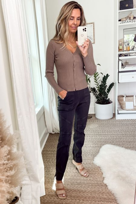 Spanx twill joggers, button up cardi top.  Everyday outfit    #LTKunder50 #LTKstyletip #LTKSeasonal