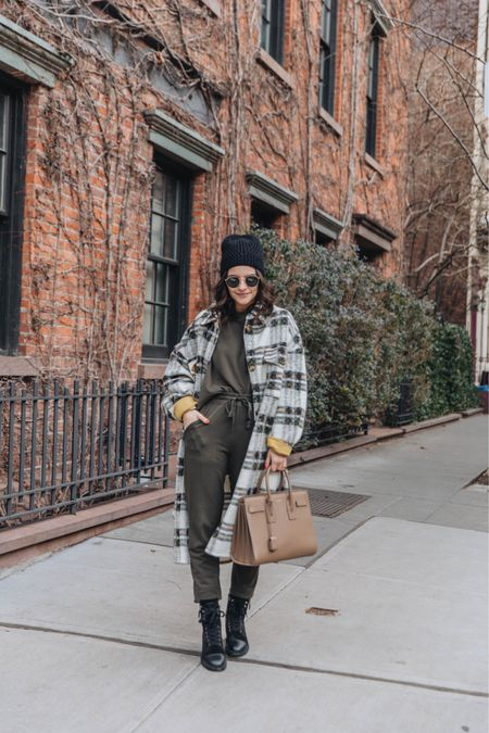 Fall outfit Shacket Plaid jacket Beanie Chanel Combat boots  #LTKunder100 #LTKstyletip #LTKunder50