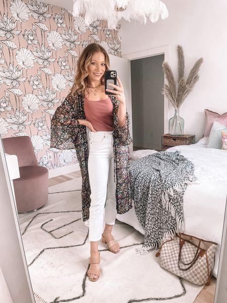 Summer outfit, kimono floral, white Levi crop jeans, pink bodysuit, braided sandals, gold layered jewelry  #LTKstyletip #LTKunder50 #LTKshoecrush