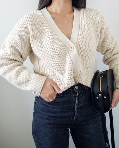 Impatiently waited for it to cool down so I could finally wear the beautiful Shelter Cardigan from Tradlands. ❤️ nothing beats a perfect fitting oversized cardigan as a transitional fall piece - French tucked here into a pair of straight leg jeans.   #LTKstyletip #LTKSeasonal #LTKunder50