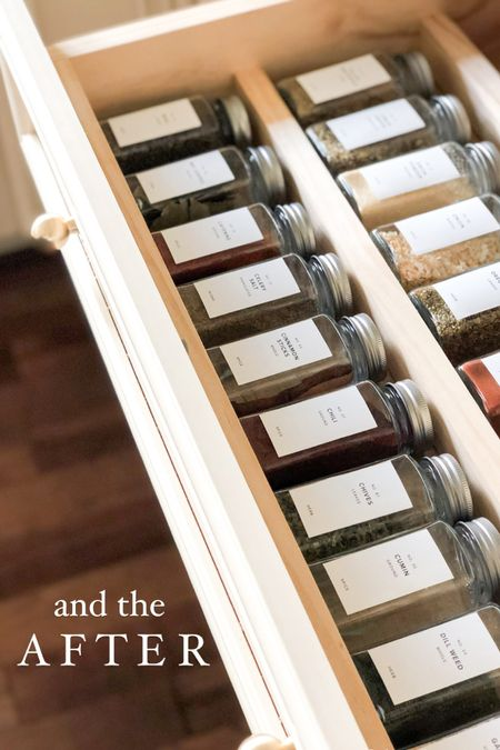 Spice Jar drawer  PRO TIP! Turn your unused faux drawer under your cooktop into a custom spice jar drawer.   Spice jars   spice jar labels   kitchen organization   spice cabinet   pantry organization   spice jar organization  #LTKunder50 #LTKhome #LTKstyletip
