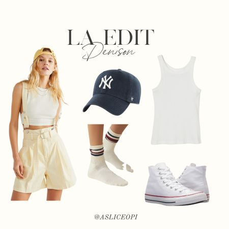 📷 LA EDIT- Suspender yellow overalls, Navy yankee hat, Red and blue high socks, white scoop neck tank top, white high top converse! http://liketk.it/3mwOZ #liketkit @liketoknow.it