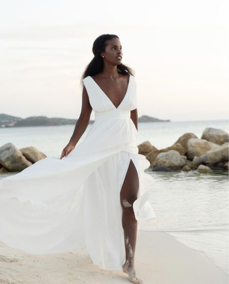 Wearing size s  Bridal, wedding, white dress, maxi     #LTKSeasonal #LTKunder100 #LTKwedding