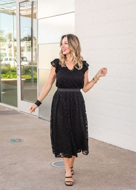 If you love the freedom and versatility of separates, you'll be smitten with this lace flutter sleeve v-neck top and lace midi skirt.   Blouse Fit: I'm wearing an XXS   Skirt Fit: I'm wearing an XXS   #LTKHoliday #LTKSeasonal #LTKsalealert
