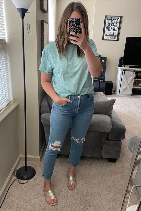 Casual outfit of the day. 8 dollar pocket tee. Target style. High waist jeans. Agolde jeans. Pocket tee. Jack Rogers sandals. Size up 1/2 in Jack Rogers. Jeans and tee are TTS. http://liketk.it/3fZ1D #liketkit @liketoknow.it #LTKshoecrush #LTKstyletip #LTKcurves