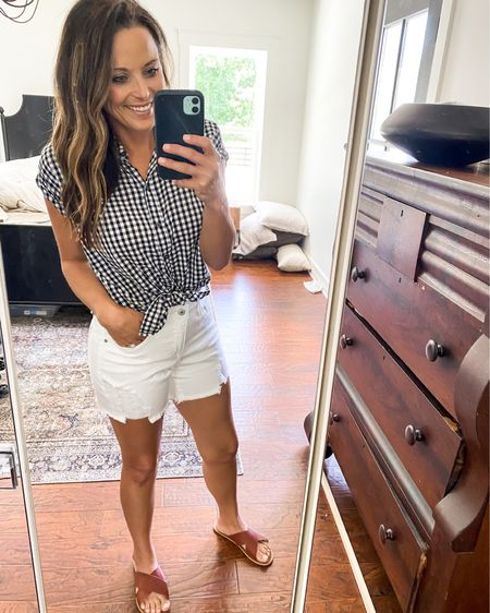 These Walmart shorts are under 25.00 and I love the fit of them. Linking some cute gingham print tops too for summer! #LTKunder50 #LTKsalealert #LTKstyletip @liketoknow.it.family  http://liketk.it/3iOKJ #liketkit @liketoknow.it